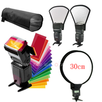 12Colors Card Flash Diffuser Kit Silver White Reflector Foldable Beam Snoot Round White Balance Softbox For