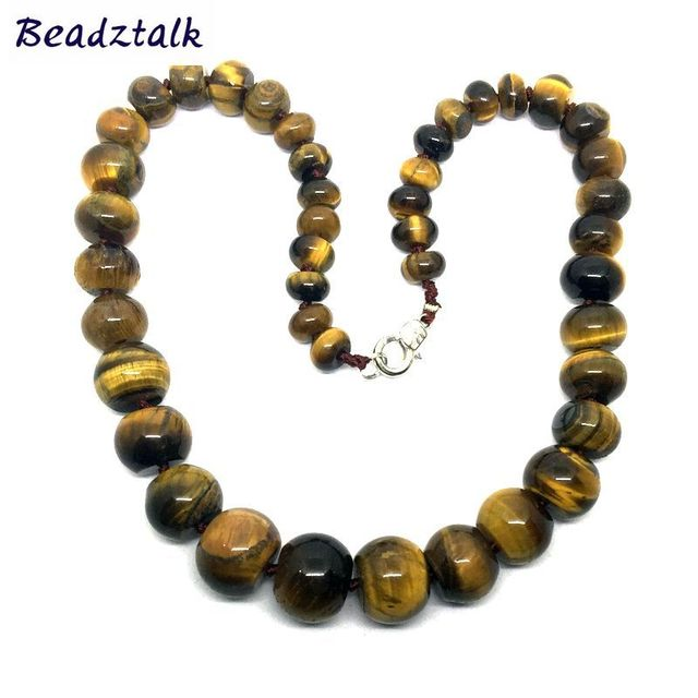 Top Classic Knotted Natural Stone Bead Necklace Tiger Eye Stone  JP77