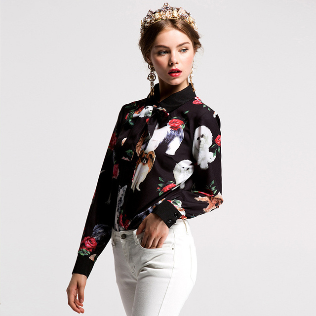 Fashion Elegant Dog Patterned Blouse