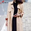 Искусственная Замша Пальто Женщин Новая Весна 2016 Корейская Мода Долго Пальто Для Женщин Двойной Брестед Поясом Весте Femme Printemps