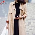 Faux Suede Abrigos Mujer Nueva Primavera 2016 de Corea De Moda Largo Trench Coat Para Las Mujeres de Pecho Doble Con Cinturón Veste Femme Printemps