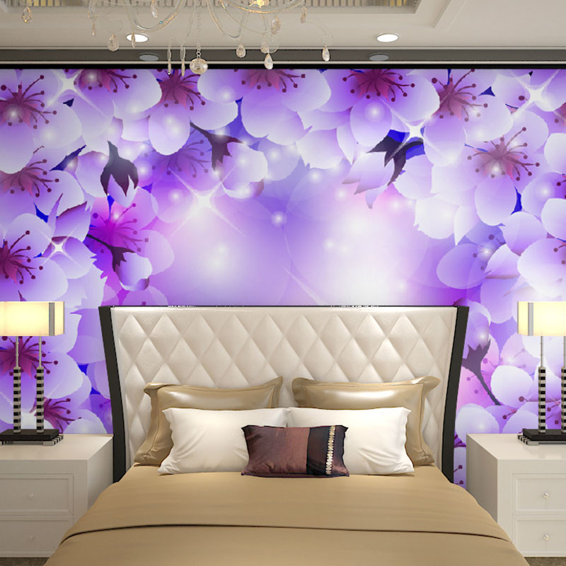 Beibehang wall panels purple white floral flowers papel de for 3d wallpaper bedroom ideas