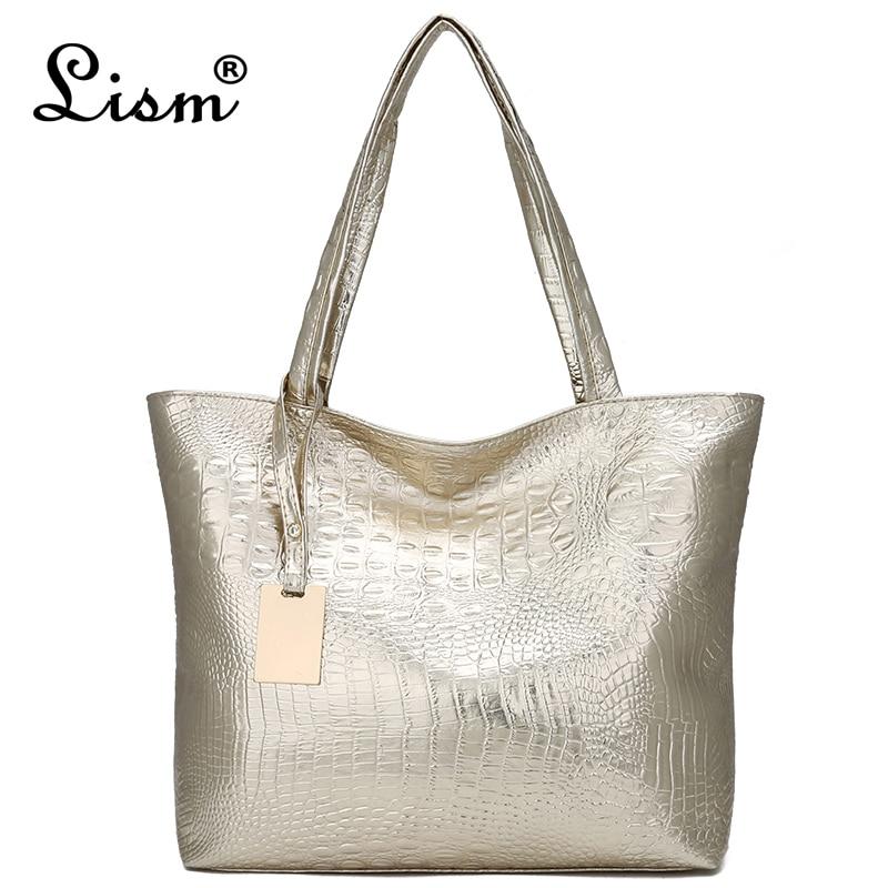 Nouveau mode Crocodile femmes sacs à bandoulière argent or noir Sac à main en cuir PU femme grand Sac fourre-tout dames sacs à main Sac