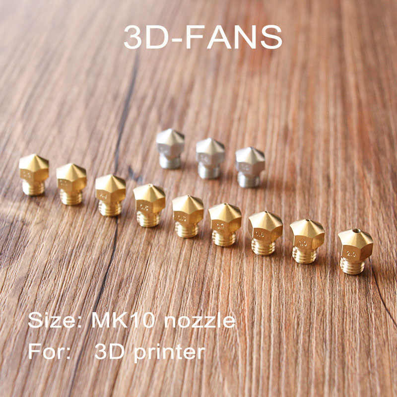 1 Pcs MK10 RepRap Makerbot2 M7 Kuningan Stainless Steel Nozzle 0.2/0.3/0.4/0.5/0.6/ 0.7/0.8/1.0/2.0 Mm untuk 1.75 Mm Filamen 3D Printer
