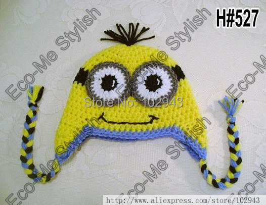2014 New 30pcs Minion Hat Crochet Pattern Despicable Me Hat With