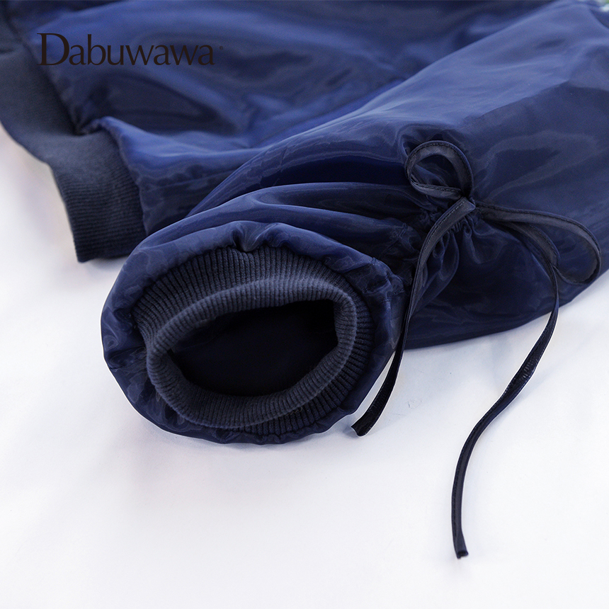 Dabuwawa Dark Blue Spring Short Bomber Jacket Floral Embroidery Jacket Women Long Sleeve Casual Baseball Coat 5