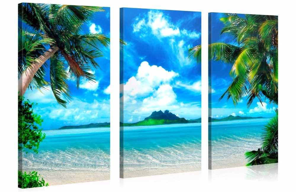 3 pieces framed Wall Art Picture Gift Home Decoration Canvas Print painting Coconut palm beach series wholesale/