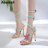Aneikeh High Heel Gladiator Sandals Women Coloured Butterfly One Strap S Shaped Circle Crystal Stiletto Summer Sandal Shoes Woma