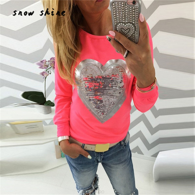f0719895 snowsine #4001 Women Heart Sequins Long Sleeve Top Shirt T-Shirt free  shipping wholesale
