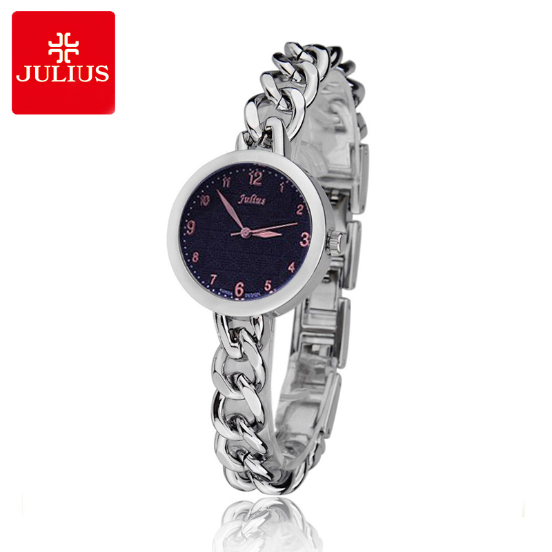 Top Julius Lady Woman Wrist Watch Fashion Hours Korea Dress Bracelet Elegant Steel Link Chain School Student Girl Gift top julius lady women s wrist watch elegant shell retro fashion hours bracelet leather girl birthday gift