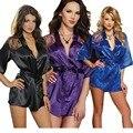 Lisli Roupas Femininas Sexy Laço De Cetim Roupão Kimono Intimate Pijamas Robes Nightdress CL-N012 Brilhante Vestido de Noite Das Mulheres da Senhora