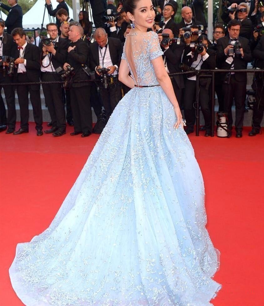 d258bd8e9c8 ... 2017 Light Sky Blue Sexy Zuhair Murad Overskirts Evening Dresses Sheer  Neck Jewel Applique Beads Lace ...