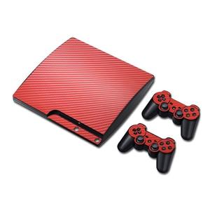 Image 2 - 100% חדש סיבי פחמן מדבקה עבור PS3 Slim ו 2 בקר עורות מדבקת עבור PS3