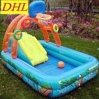 Inflatable Multifunction Swimming Pool Game Playground Slide Basketball Backboard Outdoor Sunbathe Life Buoy Sea Party L1938