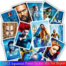 30PCS Aquaman Poster Stickers Set For Children Luggage Skateboard Motorcycle Bicycle Fridge Laptop Cute Cartoon Sticker(China)