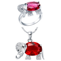 Plated NEW Set Of 925 Sterling Silver Elephant Suit Set Pendant Ring Three Color Semi Precious