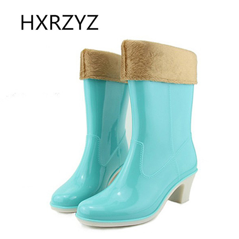 ФОТО Spring and autumn women's rubber boots fashion plus velvet Warm rain shoes waterproof high-heeled ladies fashion water shoes
