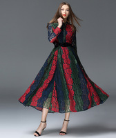 2016 Perspective Lace Patchwork Long Sleeve Women Dresses Slim Big Swing Maxi Dress High Quality Elegant Party Dresses Vestido