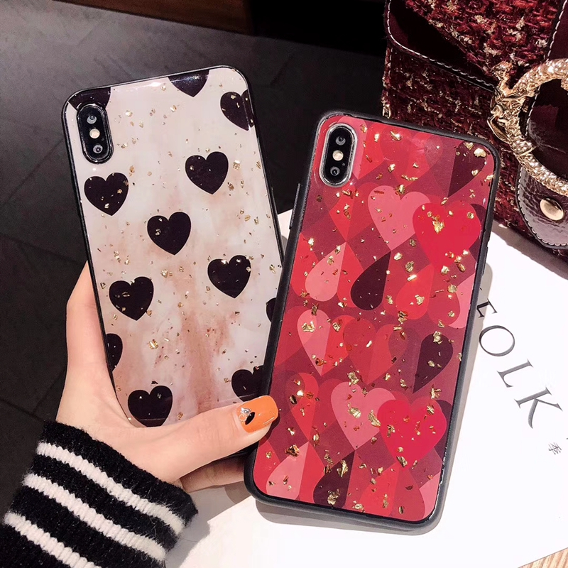 For Huawei Y9 2019 Case Retro Cute Love Heart Gold Foil Bling Glitter Phone Case For Huawei Y9 Cover Soft Silicone Back Cover in Fitted Cases from Cellphones Telecommunications