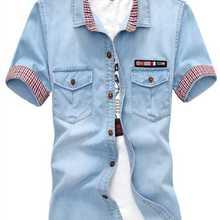 Новая мода горячая Распродажа бренд Мужская Повседневная Высококачественная однотонная Джинсовая Верхняя одежда в Корейском стиле мужская приталенная джинсовая рубашка с коротким рукавом