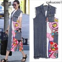 Cakucool Women Spring Fashion Jeans Jacket Sleeveless Denim Coat Printing Patch Frayed Long Vests Big Size