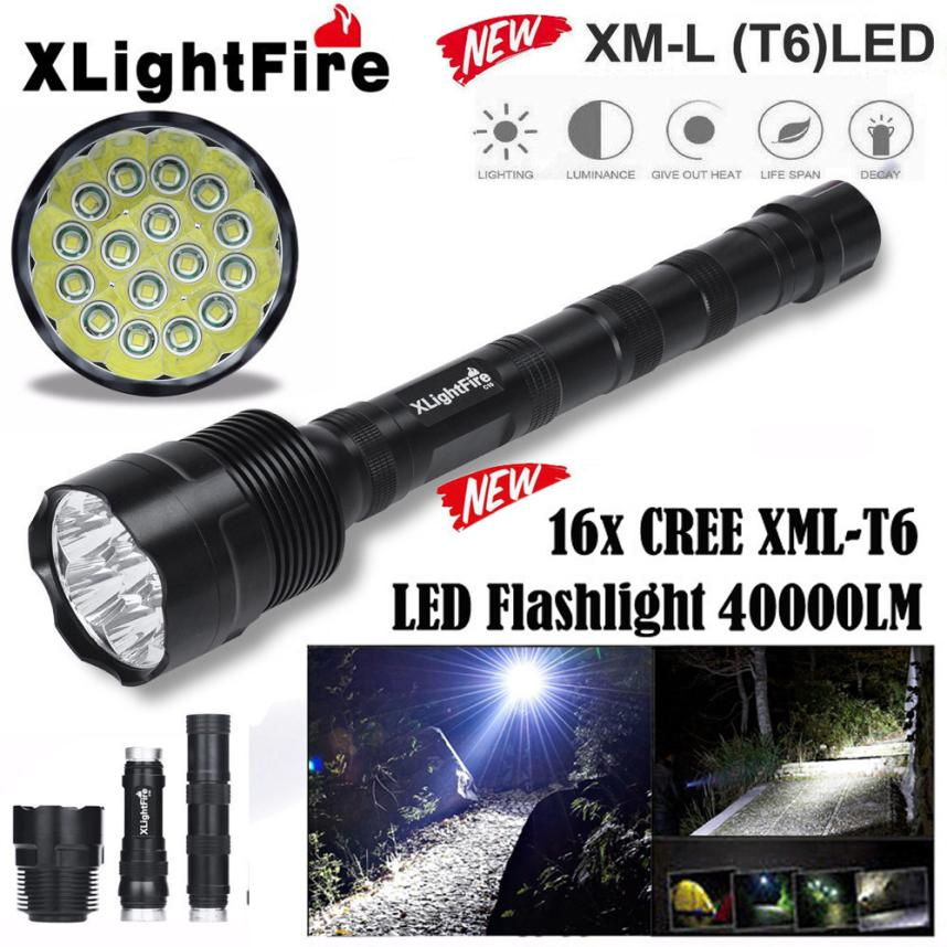 NEW 18650 Battery LED flashlight Aluminum LED flashlightXLightFire 40000 Lumens 16x CREE XML T6 5 Mode Protable Light N24 flash light 5 mode 3800 lumens 3 x cree xml t6 led flashlight brightness light outdoor camping light 3x18650 battery charger