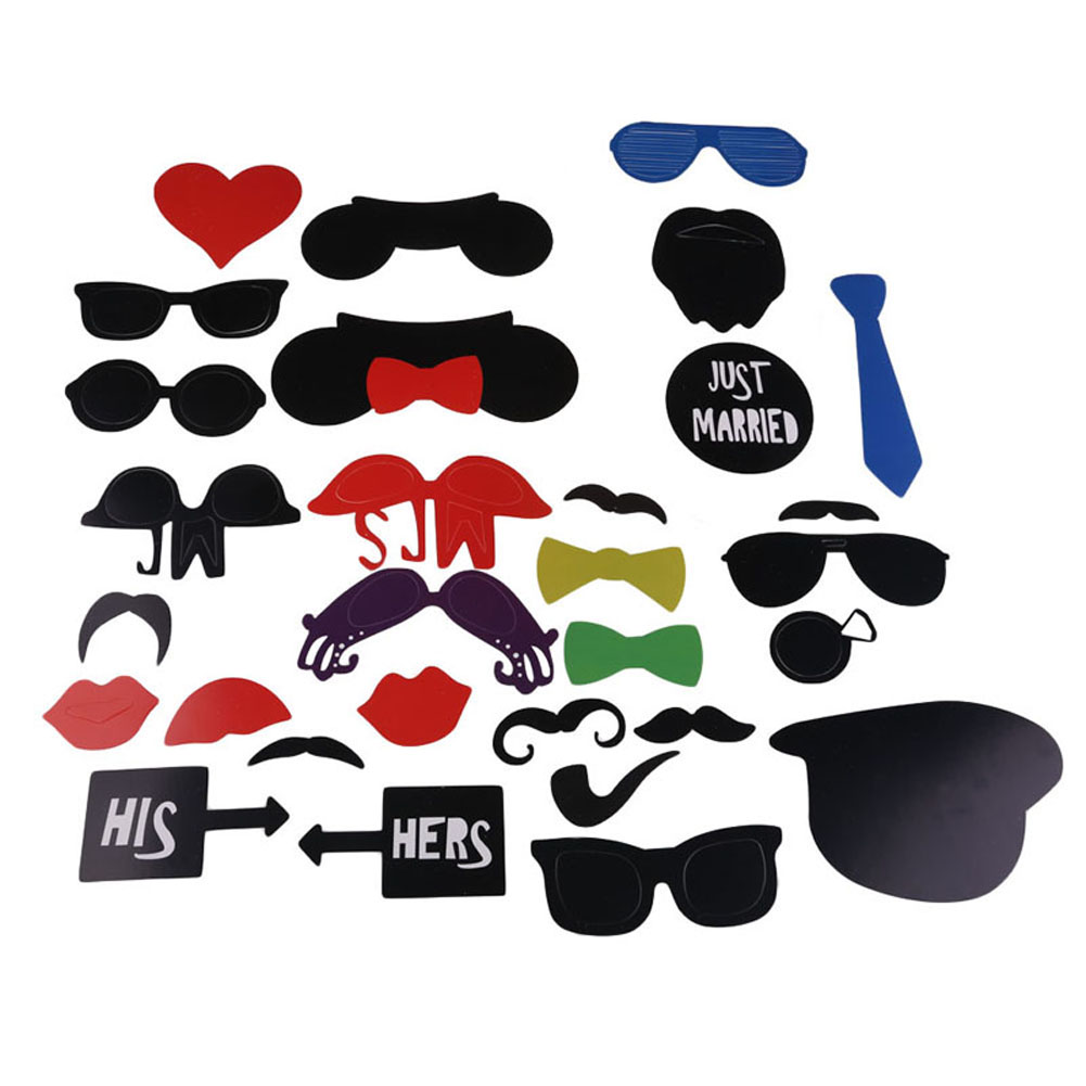 31PCS DIY Face Funny Masks Photo Booth Gatsby Party Decorations Props Photography Mustache Birthday Supply Christmas Decoration