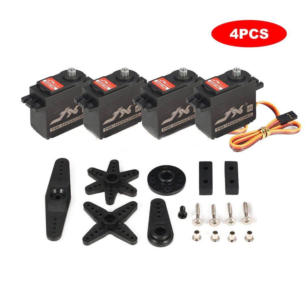 4PCS JX PDI-HV5523 HV High Voltage Metal Gear Digital Core Servo with High Torque for RC Car Robot Airplane Aircraft Drone DIY image