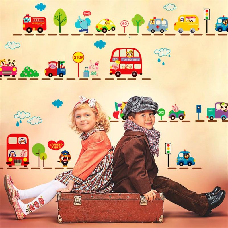 Kids Traffic Car Wall Stickers home Decor Cartoon Animal DIY Road ...