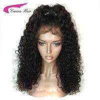 Carina שיער צפיפות 150% צבע 1B מלזי רמי שיער אדם מלא תחרה עם בייבי שיער Glueless פאות קצרות מראש קטף