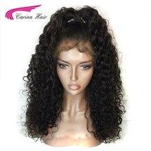 Карина волос 150% плотность Цвет 1B Малайзии non-реми Человеческие волосы полный Кружево Искусственные парики с ребенком волос бесклеевой короткий Искусственные парики предварительно сорвал