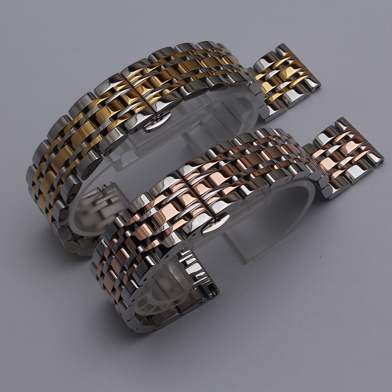 Polished14mm 16mm 18mm 20mm 22mm Watchband New Mens Silver  Metal Watch Band Stainless Steel Bracelets For Smart Watch With Tool new men black gold silver metal watch band stainless steel bracelets for sports watch smart watch for gramin fenix 3