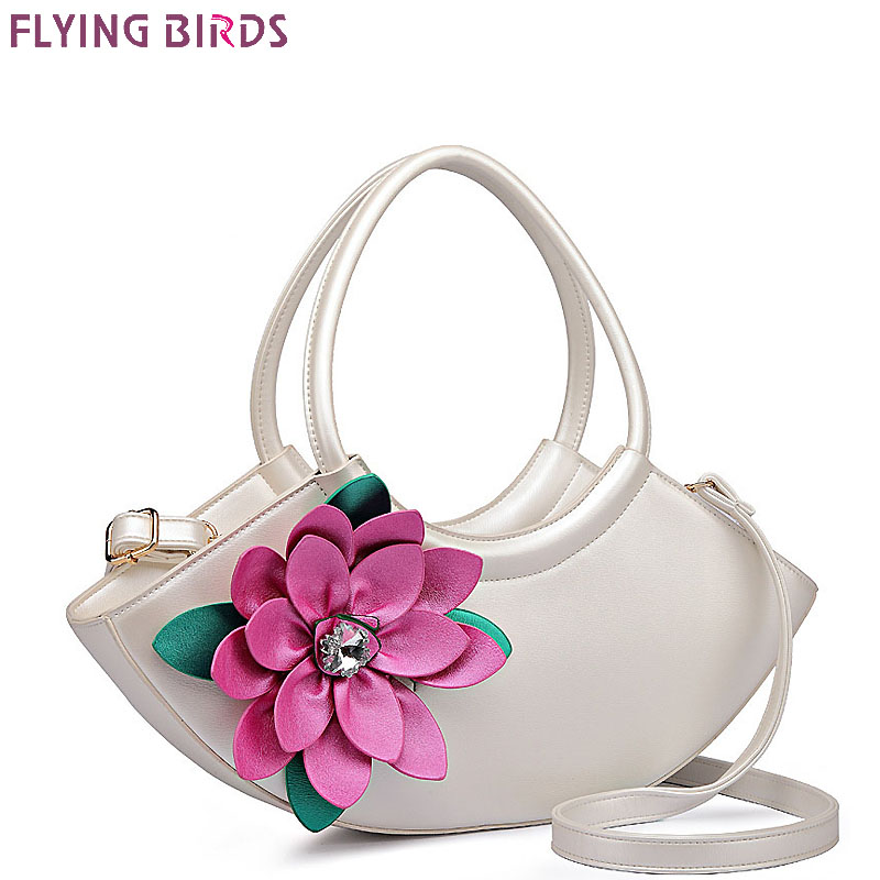 FLYING BIRDS Flower Composite Bags Women Tote Designer Bag Leather Handbag Women's Pouch Vintage Bolsas Brands Handbags 2017-in Top-Handle Bags from Luggage & Bags    1