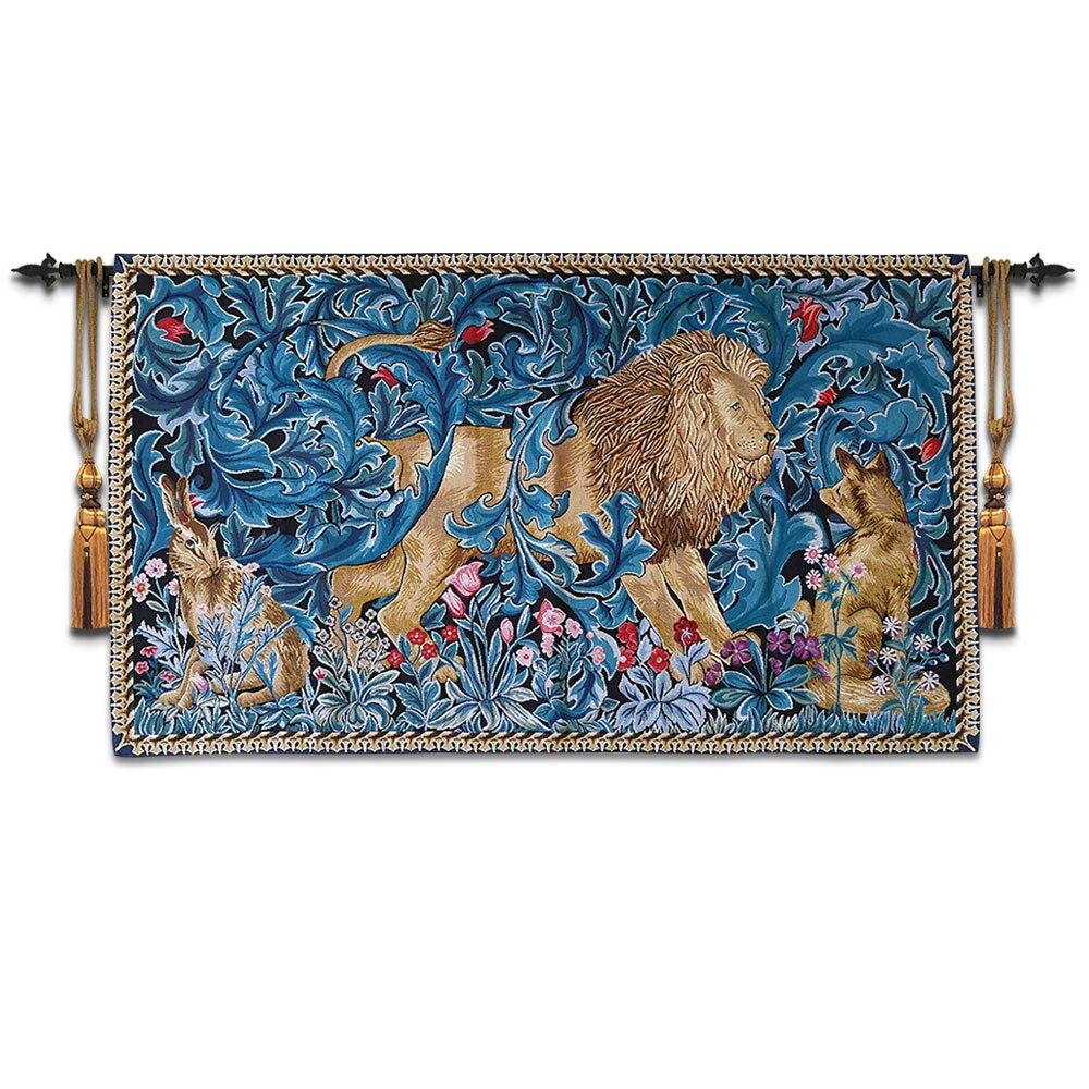 82x140 cm William Morris Works Lion King tapisserie murale décorative tenture murale belgique marocain décor coton tapis mural tissu