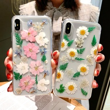 Luxury Handmade Dried Real Flower Pressed Phone Case For iPhone X XS Max XR 6 6S 7 8 Plus Cute Soft TPU Back Cover Coque