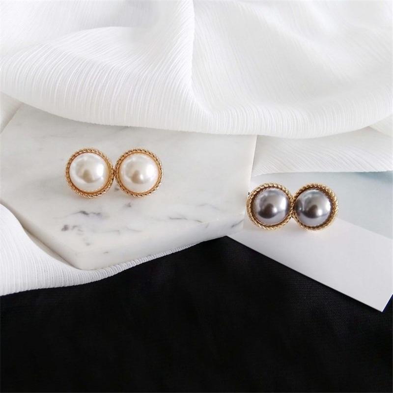 Stud earrings female metal round pearl women stud earrings elegant fashion minimalist pearl stud earrings earrings of women 3