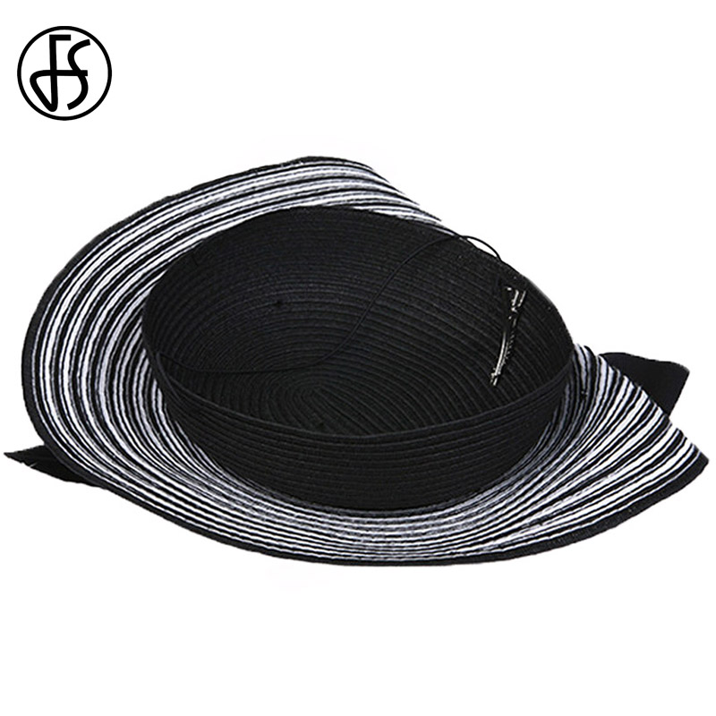 5710c10074456a FS Fascinator Wedding Hats For Women Elegant Black White Feather Striped  Cupid Pillbox Hat Vintage Cocktail Lady Church Fedoras ~ Free Shipping July  2019