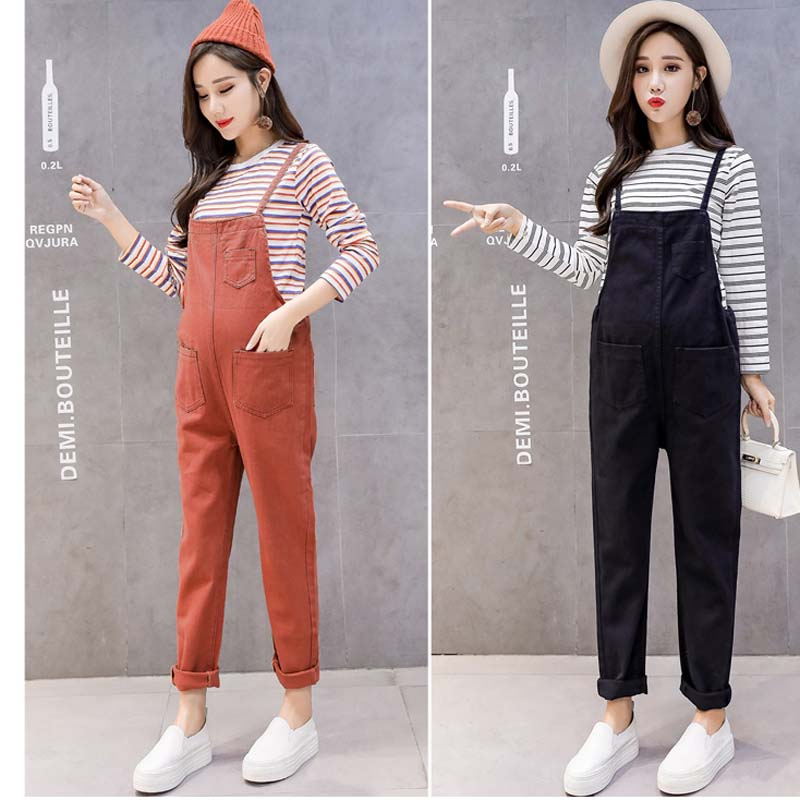 Maternity Clothes Pregnant Romper Autumn Woman Solid Sleeveless Jeans Jumpsuit Woman Causul Denim Overalls Maternity Trousers