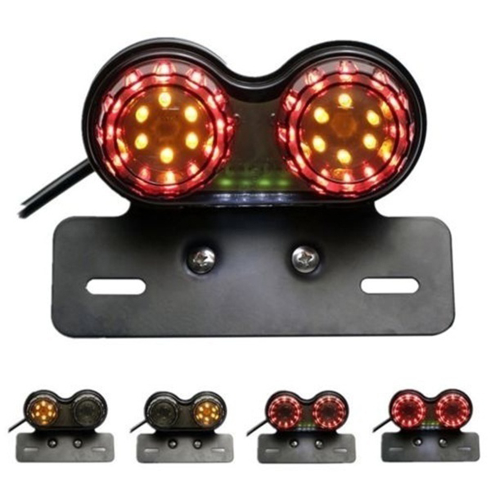 12V Dual LED Light Stop Motorcycle Light Generic Integrated Tail Light Twin Light Premium Brake Turn Signal Brake License Plate Pakistan