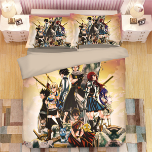 FAIRY TAIL Bedding Set Cartoon anime Duvet Covers Pillowcases Children Anime Comforter Bedding Sets bed linen bedclothes bed set(China)