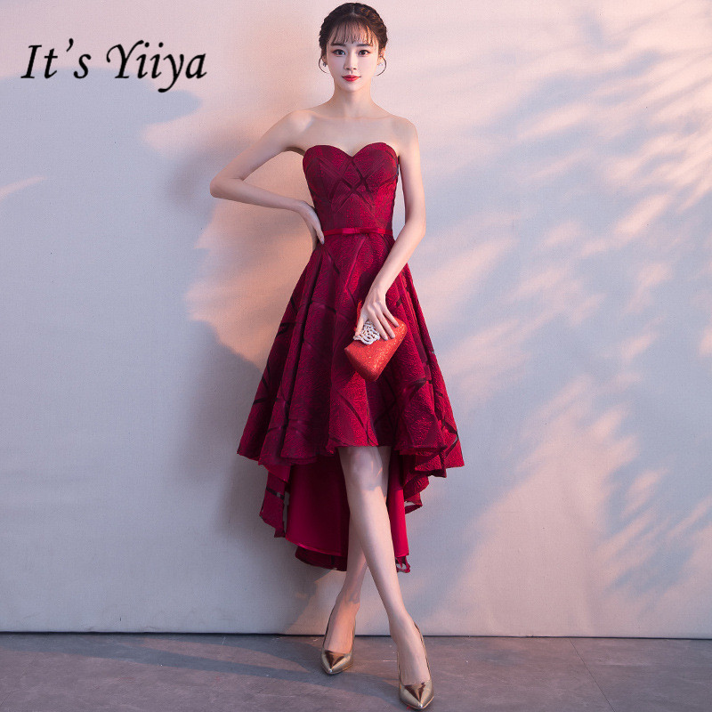 It's YiiYa New Wine Red Strapless   Cocktail     Dress   Embroidery Tea-Length Formal   Dress   Party Gown H060