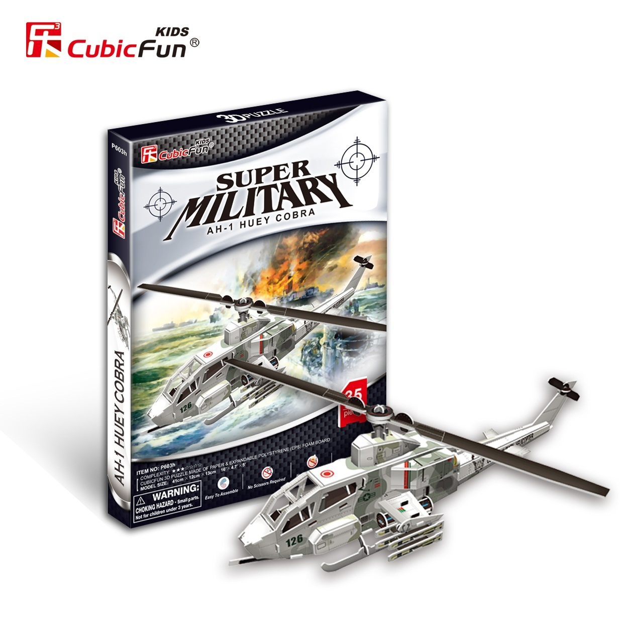 candice guo!! New arrival 3D puzzle toy CubicFun paper model jigsaw game super military AH-1 huey cobra P603h 1pc