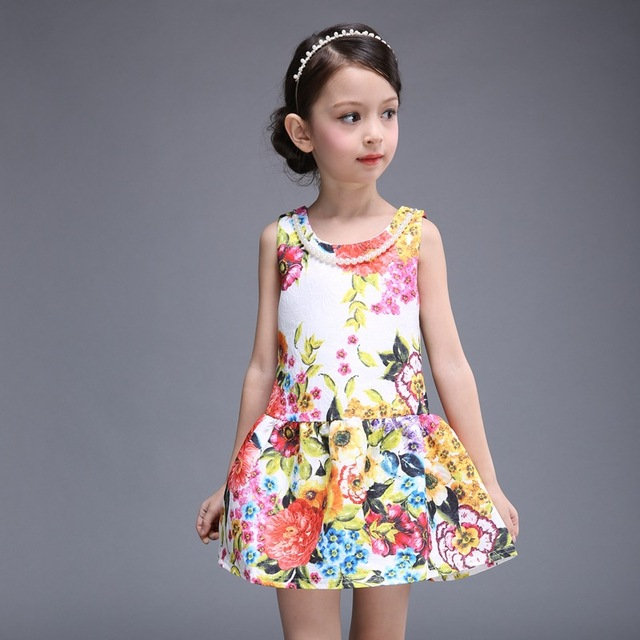 4d93c0c5b3293 High-grade baby sundress 2016 new fashion vintage floral printed princess  dress mini girl dress O-neck sleeveless girls dresses