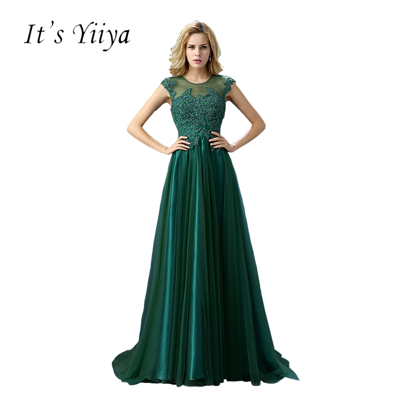 It's YiiYa Green Wine Red O-neck Sleeves Illusion Back Beading Evening Dresses Trailing Lace Floor Length Formal Dress LF292