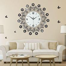 20 Inch Black Flower Wall Clock Modern Design Living Room And Bedroom Wall Watch Home Decor Mute Clock Wall Creative Clocks