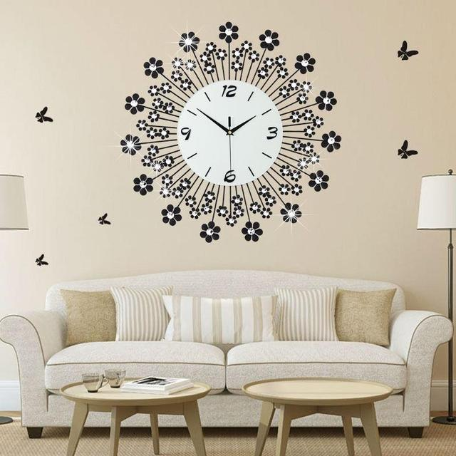 20 Inch Black Flower Wall Clock Modern Design Living Room And ...