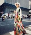 Женская мода Качество 2016 Осень Весна Полная Длина Большой Размер 4XL Макси Длинное Платье Винтаж Отпечатано Чешские Взлетно-Посадочной Полосы Платья