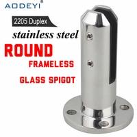 Glass Spigots Round Balustrades Handrails 2205 Stainless Steel Glass Spigot Pool Fence Frameless Balustrade Spigots Clamp