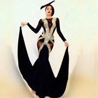 Сексуальная певица сценический костюм черный Блестящие кристаллы прозрачная комбинезон выпускного вечера вечерние празднование производ