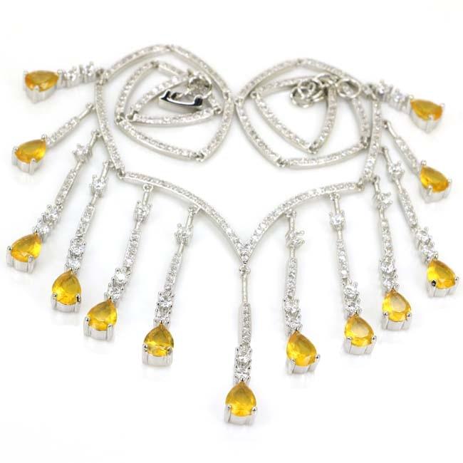 Collier en argent 925 en forme de saphir blanc avec de belles fleurs, collier en argent 16.5-17.0in 22x14mm